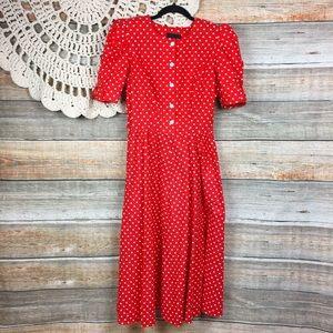Vintage | 80s Polka Dot Retro Rockabilly Dress